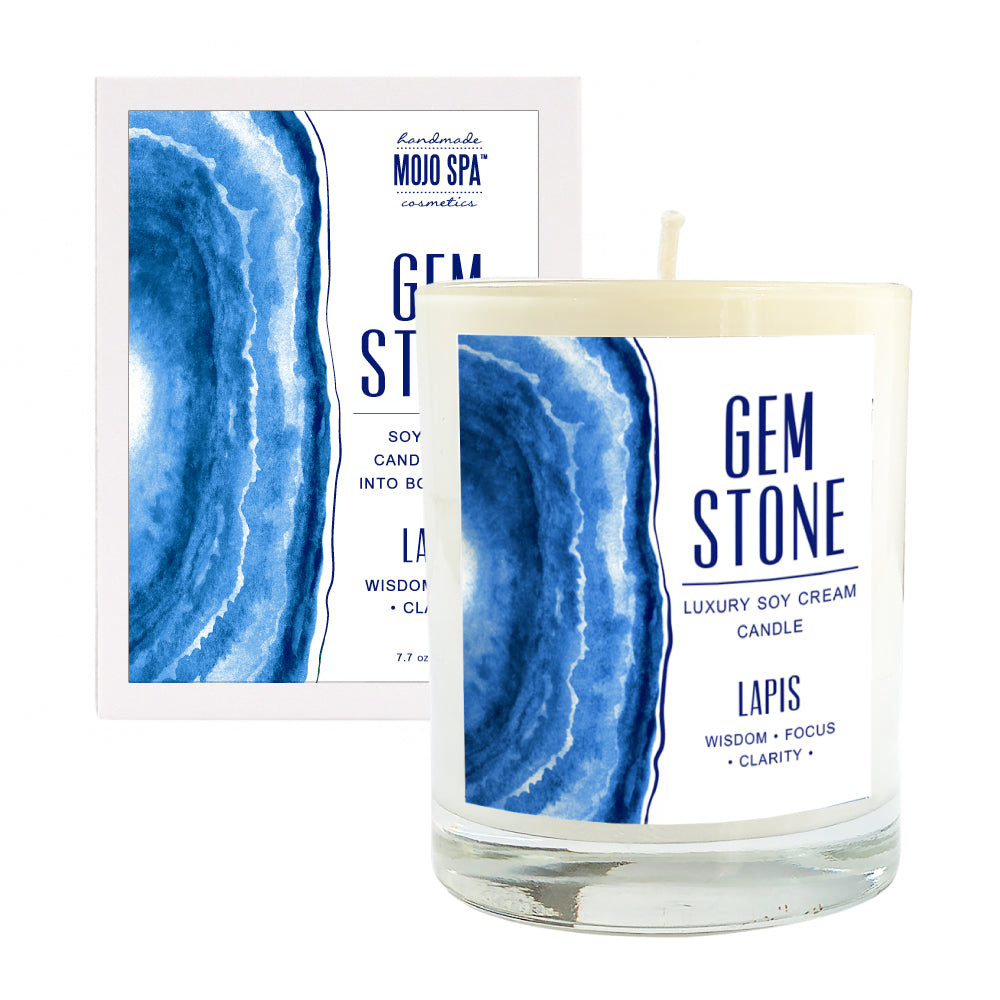 Lapis Gemstone Luxury Soy Massage Candle
