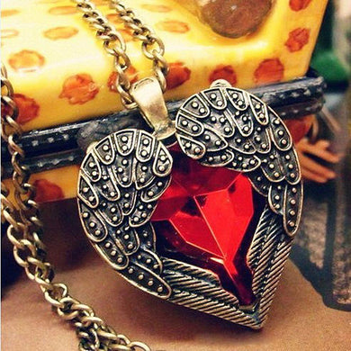 Angle Wing Pendant Necklaces Red Rhinestone Crystal Heart Shape Always FREE SHIPPING