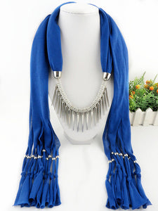 Fashionable Tasseled Scarf Necklace Spiked Pendant Always Free Shipping