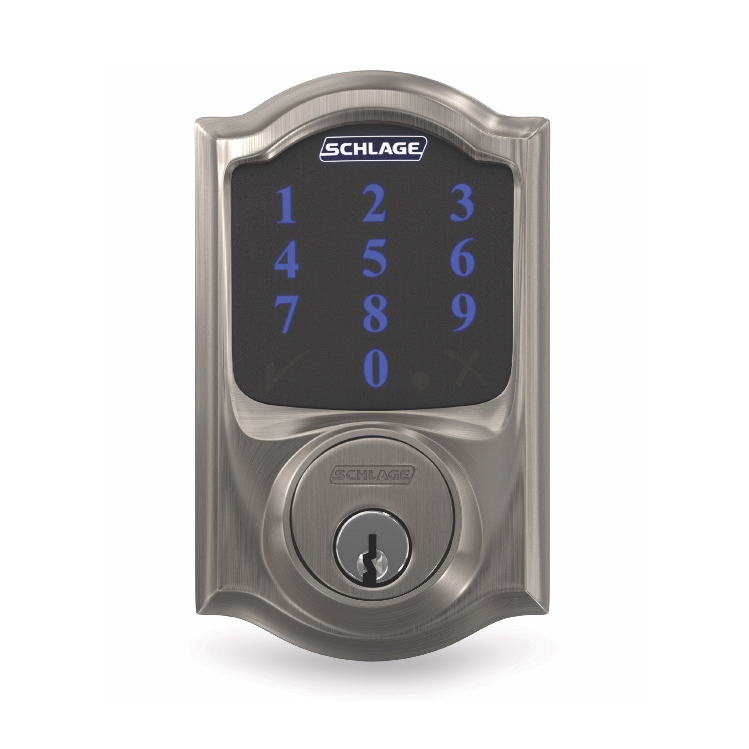 Schlage Connect Smart Deadbolt, Z-Wave Plus Enabled (for Works with Ring Alarm Security System) - Satin Nickel