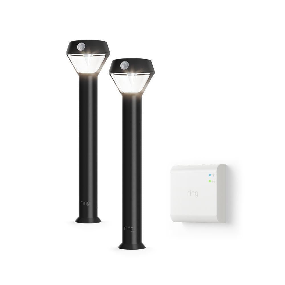 Smart Lighting 2-Pack Solar Pathlight + Bridge - Black