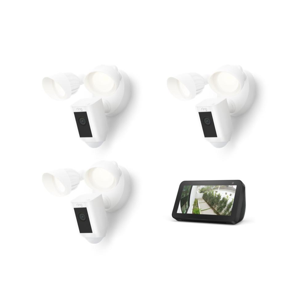 3-Pack Floodlight Cam Wired Plus with Echo Show 5 (Charcoal) - White