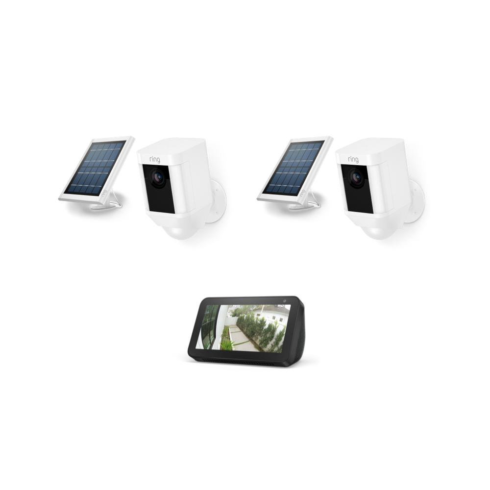 2-Pack Spotlight Cam Solar with Echo Show 5 - White