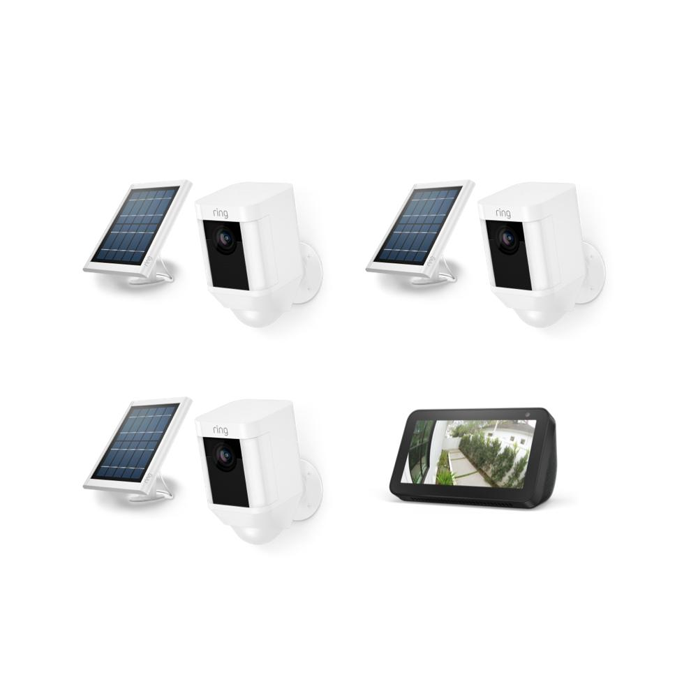 3-Pack Spotlight Cam Solar with Echo Show 5 - White