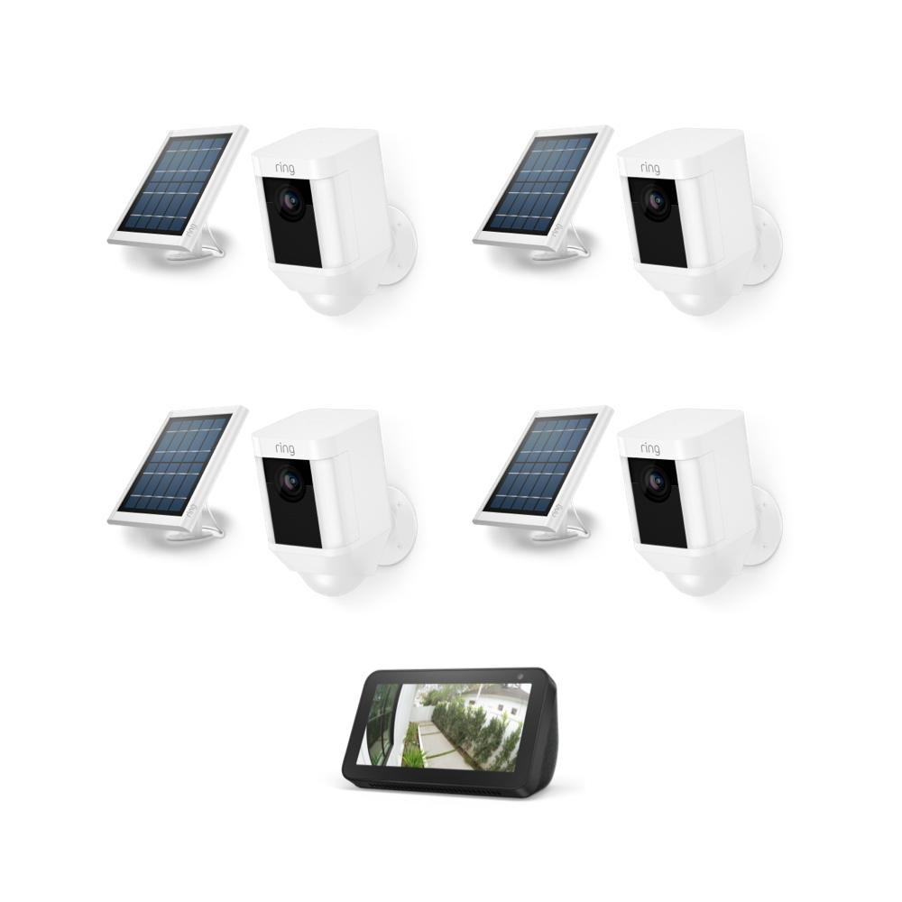 4-Pack Spotlight Cam Solar with Echo Show 5 - White