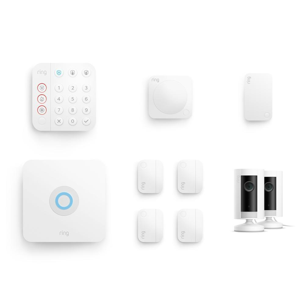 8-Piece Business Alarm Security Kit + 2 Indoor Cams (for 2nd Generation) - White: Alarm Kit ships 4/29