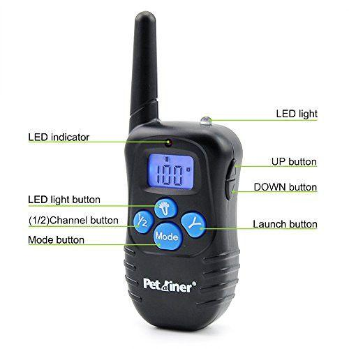 Petrainer PET998DBB2 E-Collar Shock Collar Dog Training Collar Remote Transmitter Labelled