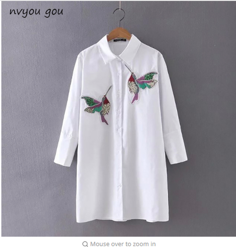 New arrival 2018 Women Bird Embroidered Blouse Shirts fashion Long sleeve high quality turn down collar Spring Fall female Shirt