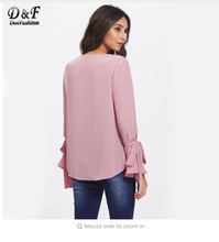 Dotfashion Pearl Bow Tied Flounce Sleeve Blouse  Pink Round Neck Ruffle Woman Top Long Sleeve Blouse