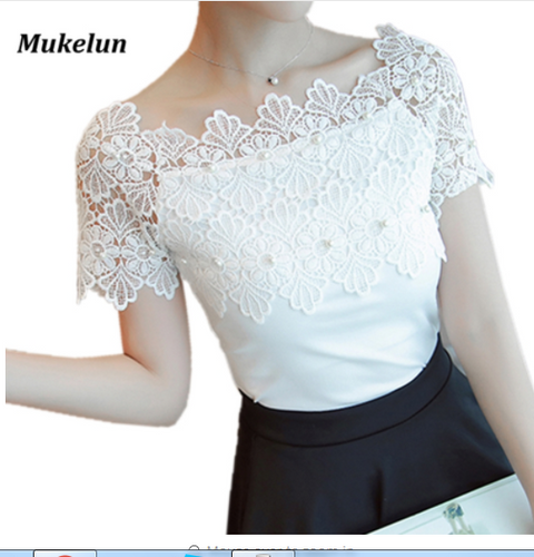 Women Lace Patchwork Blouse Shirt Casual Off Shoulder Top Short Sleeve White Blouse Ladies Summer Hollow Elegant Blouses