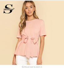Sheinside Pink Self Belt Keyhole Back Blouse Solid Short Sleeve Top 2018 Summer Women Office Ladies Work Elegant Blouse