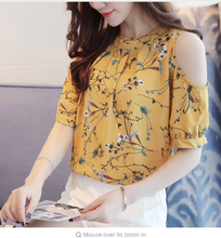 Chiffon Print Blusas Floral Shirt For Womens Elegant Open Shoulder Blouses Women Ete Plus Size Female Tops 825C 30