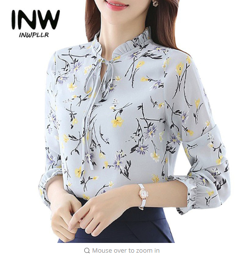 Blusas Femininas 2018 Fashion Floral Tops And Blouses Mujer Autumn Long Sleeve Femme Shirts Print Chiffon Women Blouses