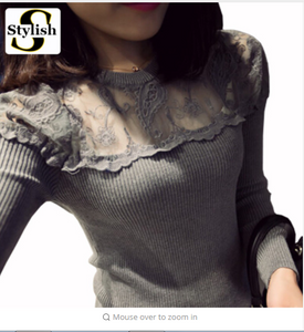 Long Sleeve Blouses Shirts Female Knitted Lace Blouse Women Blouses  New Fashion Perspective Lace Tops Blusas
