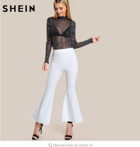 SHEIN Mock Neck Lettuce Hem Glitter Mesh Blouse Womens Long Sleeve Tops Black High Neck Elegant Slim Blouse