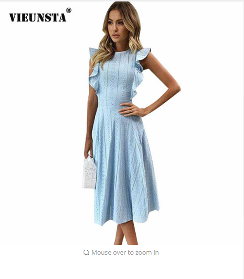 VIEUNSTA Women Ruffle Elegant Sundress Lace Boho Beach Party Dresses Summer O Neck Sleeveless Slim Blue White Women's Dress