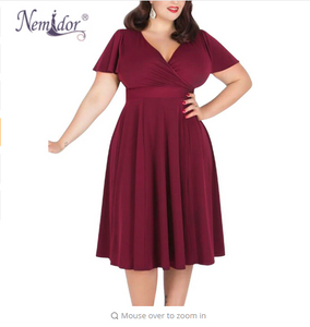 Nemidor Women Sexy V-neck Short Sleeve 50s Party A-line Dress Vintage Stretchy Midi Plus Size 7XL 8XL 9XL Cocktail Swing Dress