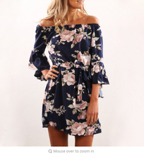 Women Dress 2018 Summer Off Shoulder Floral Print Chiffon Dress Boho Style Short Party Beach Dresses Vestidos de fiesta
