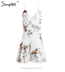 Simplee A-line ruffles floral print summer dress women Deep v neck backless bandage dress Casual party short dress