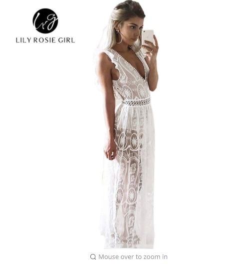 Sexy Hollow Out White Lace Dress Women Spring High Waist Sleeveless Backless Dress Elegant  Maxi Long Dress Vestidos