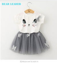 Bear Leader Girl Dress 2018 New Summer Casual Style Cartoon Kitten Printed T-Shirts+Net Veil Dress 2Pcs for Girls Clothes 2-6Y