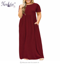 Nemidor 2018 Hot Sales Women O-neck Short Sleeve Long Casual Dress Plus Size 7XL 8XL With Pockets Solid Vintage Maxi Dress