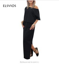ELSVIOS Women Long Maxi Summer Dress Side Split Loose Dress Short Sleeve Evening Party Dress with Pocket Vestidos