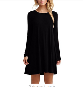 Women Long Sleeve Casual Loose Black Dress Pleated Mini Party Dresses