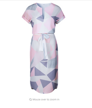 Geometric Print Dress Women V Neck Short Sleeve Woman Summer Dresses Casual Sashes Robe Midi Dress Ladies Elegant Vestidos