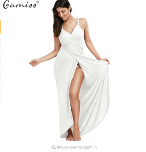 Gamiss Beach Long Maxi Wrap Slip Dress  Women Summer Cover Ups Sleeveless Split Spaghetti Strap Dress Vestidos Sundress