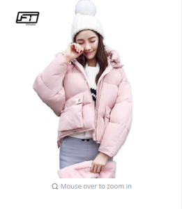 Winter Fashion Women Jackets Short Design Cute Cotton Padded Pink Coats Causual Warm Hoodies Loose Padded Parkas Casaco Feminino