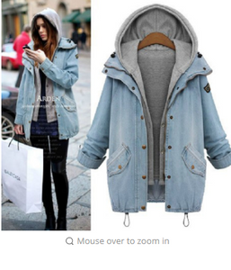 Fashion Autumn Winter Women Overcoat Casual Denim Coat Cowboy Hoodie Outwear Coat Wram Jacket Coat Plus Size M-6XL WDC400