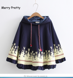 Merry Pretty Cloak outerwear women autumn rabbit print ear stereo hoodies coat cotton casual poncho jacket cloak hooded coat