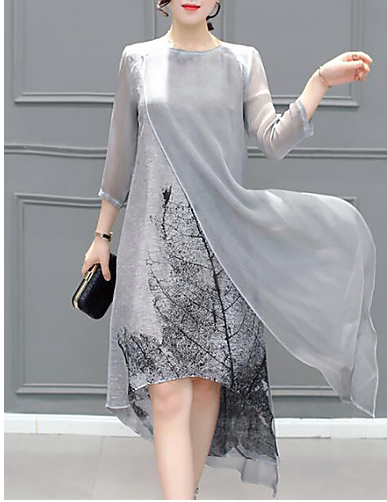 Women's Plus Size Going out Asymmetrical Chiffon Dress - Graphic Layered Summer Gray