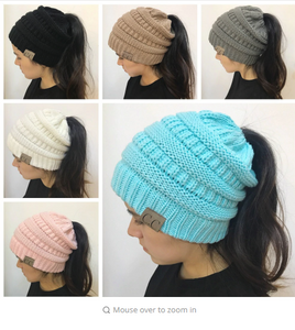 Women Winter Knitting hats woolen warm caps Lady's Casual Hats CC label Solid color Skullies Beanie