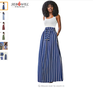 SEBOWEL 2018 Autumn Summer Women Long Skirt Chic Colorblock Striped Maxi Skirts Full-length High Waist Tie Big Hem Vintage Skirt
