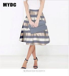 MYDC Sexy Women Stretch Natural Waist Pleated skirt Striped Printed Casual Knee-Length Skirt 2018 elegant skirt big size
