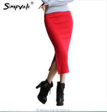 SIMPVALE Stretch Slim Step Skirts Womens Pencil Skirt High Elastic Package Hip Mid-Calf Solid Skirt Lady Rib Cotton Mini Skirts