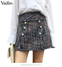 Vadim women pearls weave mini skirt vintage faldas mujer side zipper European style fashion streetwear chic skirts BSQ650