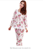 Long Sleeved Ladies Pajamas Set Cotton Pyjamas for Women Pijama Mujer Floral Print Sleepwear Homewear Nightgown Asia/Tag M-3XL