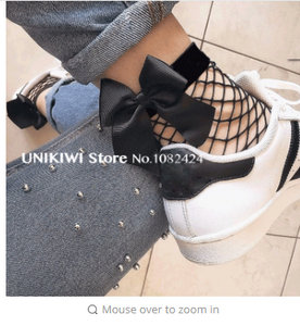 Chic Streetwear Women's Harajuku Black Breathable Bow knot Fishnet Socks.Sexy Hollow out Mesh Nets Socks Ladies Girl's Bow Sox