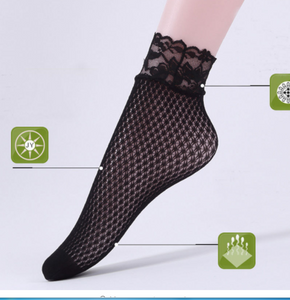 Spring Summer Fashion Lady Girl Pricness Lace Floral Hollow Ventilation Net Short Slim Socks For Woman