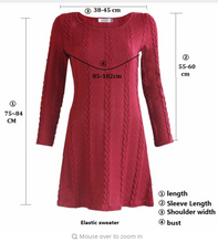 Women Casual Dress Lady long Sleeve Crewneck Jumper Thin Casual Knitted Sweater Mini Dress Vestidos Mujer New
