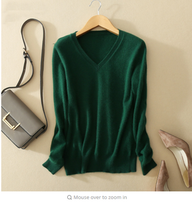 Cashmere Sweater V Neck Women Fashion Pullovers Knit Sweater V Neck Women Slim Knit Coat Female Blouse  Knitwear