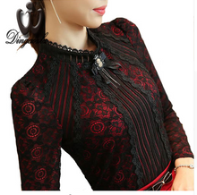 S-3XL Plus size Lace shirt female long sleeved Casual Lace Tops Spring  fashion Slim Floral Vintage Women blouse