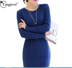 TANGNEST 4 Colors Women Pullovers Sweater High Quality  O-neck Medium-long Slim Knitted Sweaters WZL740