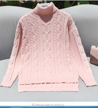 thick line hedging knitting twist loose plus size high collar sweater pullover long sleeve thick women's sweaters