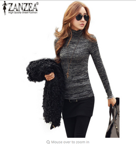 Women Sweaters Pullover Jumper Tops ZANZEA  Casual Knitted Turtleneck Long Sleeve Slim Fit Casual Sweater 3XL