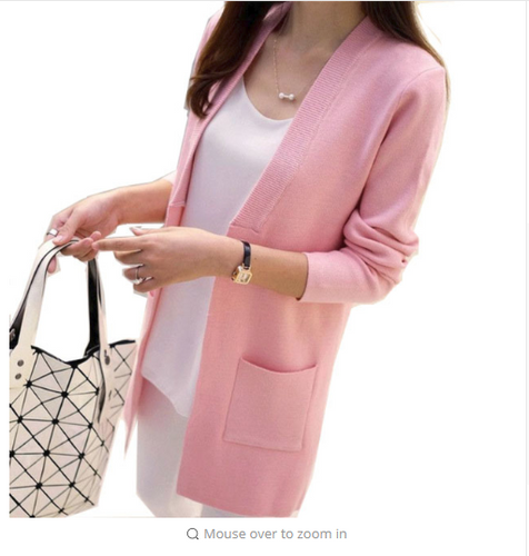 OLGITUM New Women Spring/ Autumn Sweater  Long Cardigan Korean Slim Pocket Loose Knit Sweater Outwear Coat SW522