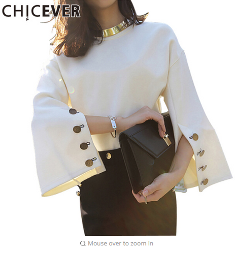 [CHICEVER] Spring Flare Sleeve Split O-neck Lady Female Tops Women Sweater Clothes New Fashion Korean New